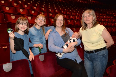 Birmingham Hippodrome. 21st April 2016. Shona Jorkowski went into labour while watching Mary Poppins at the Birmingham Hippodrome. Baby Kasper now has a seat plaque dedicated to him in the auditorium. Pictured are Shone and Kasper with daughters Cally (8) and Seren (10) and mother in law Angie Hahmer. Picture by Simon Hadley. 07774 193699 mail@simonhadley.co.uk www.simonhadley.co.uk