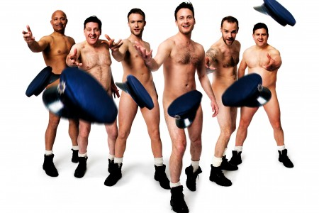 Louis Emerick, Andrew Dunn, Chris Fountain, Gary Lucy, Joe Absolom, Kai Owen in THE FULL MONTY credit Matt Crockett