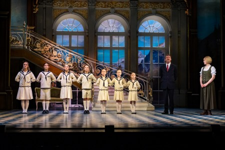 The Sound of Music UK Tour - Gray O'Brien (previous cast) as Captain Von Trapp and Lucy O'Byrne as Maria - credit Mark Yeoman