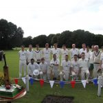 Ten Not Out cake with cricket team