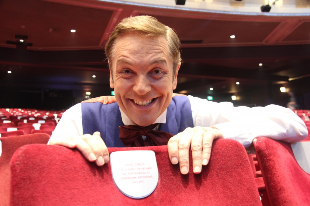 Barnum star Brian Conley celebrating his 600th Hippodrome appearance.