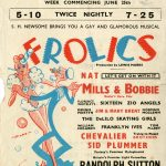 The paper handbill is printed in black, blue and red and features an illustration of a sailor and performer dancing on a spinning top. The cartoon is signed 'Hicks'. Under the theatre name and address is printed the names of the Joint Managing Directors Mark Ostrer and L. W. Farrow, Direction Val Parnell and Manager and Licensee Bertie Adams. The twice nightly bill offered to bring 'you a gay and glamourous musical'. The musical 'Frolics' was performed by radio stars Mills and Bobbie. The cast also included 'Variety's funniest Xylophonist and 'Britain's premier light comedian'.