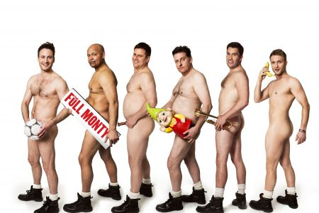 Gary Lucy, Louis Emerick, Kai Owen, Andrew Dunn, Anthony Lewis and Chris Fountain in THE FULL MONTY credit Matt Crockett