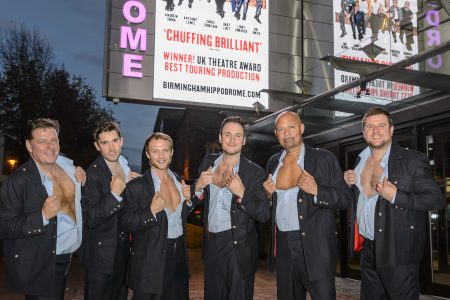 The Full Monty. Birmingham Hippodrome. 14th November 2016. The Full Monty cast , left to right; Andrew Dunn, Anthony Lewis, Chris Fountain, Gary Lucy, Louis Emerick and Kai Owen. Picture by Simon Hadley. 07774 193699 mail@simonhadley.co.uk www.simonhadley.co.uk