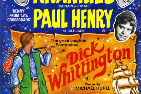 A colour flyer for the pantomime 'Dick Whittington' starring The Krankies, Paul Henry, and Bill Dainty. The show is directed by Michael Hurll. Performances are nightly at 19.00 and matinees at 14.30. On the reverse are the show show dates and times and ticket prices and an application for seats to be completed by hand and posted. The reverse also states the choreographer Alan Harding and musical director Gwyn Davis and more of the cast with names including Graham Hamilton, Felicity-Jane Goodson, Jane Fyffe, Derek Holt, The Hassani Troupe, and Betty Fox's Babes. The show includes a spectacular 3D space vision and magic water staircase. 20 December 1982 - 19 February 1983