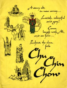 A souvenir programme, the Birmingham and Midland Operatic Society presents by arrangement with Samuel French Ltd 'Chu Chin Chow' in aid of Cancer Relief and other charities. The front cover is yellow and has six illustrations of scenes from the show down the left-hand side. The inside contains a cast list, photographs and advertisements. Programme cost one shilling. The show commenced on 17 November 1958 and ran for two weeks.