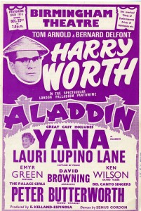 The paper handbill is printed in white and purple on both sides. The front advertises a London Palladium Pantomime presenting 'Aladdin', starring Harry Worth, Yana (Aladdin), Lauri Lupino Lane, Emyr Green, David Browning, Ken Wilson and Peter Butterworth. The back details performance dates and times. Boxes cost 60/-, Stalls 10/6 and 12/6, Dress Circle 15/-, Circle 7/6, 10/6 and 12/6, children at reduced rates.
