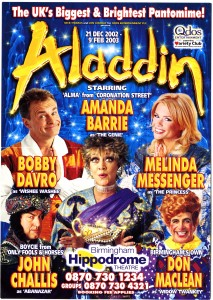 A blue and gold flyer for Nick Thomas and Jon Conway for Qdos Entertainment plc present 'Aladdin'. It states at the top 'The UK's Biggest & Brightest Pantomime!' and that Qdos Entertainment supports the Variety Club. Photographs of the cast in full costume feature on the flyer and there were Amanda Barrie, Bobby Davro, Melinda Messenger, John Challis and Don Maclean. The back lists the dates and times for all the performances including some Sign Language Interpreted Performances as well as ticket prices. The pantomime began on Saturday 21 December 2002 and ran until Sunday 09 February 2003.