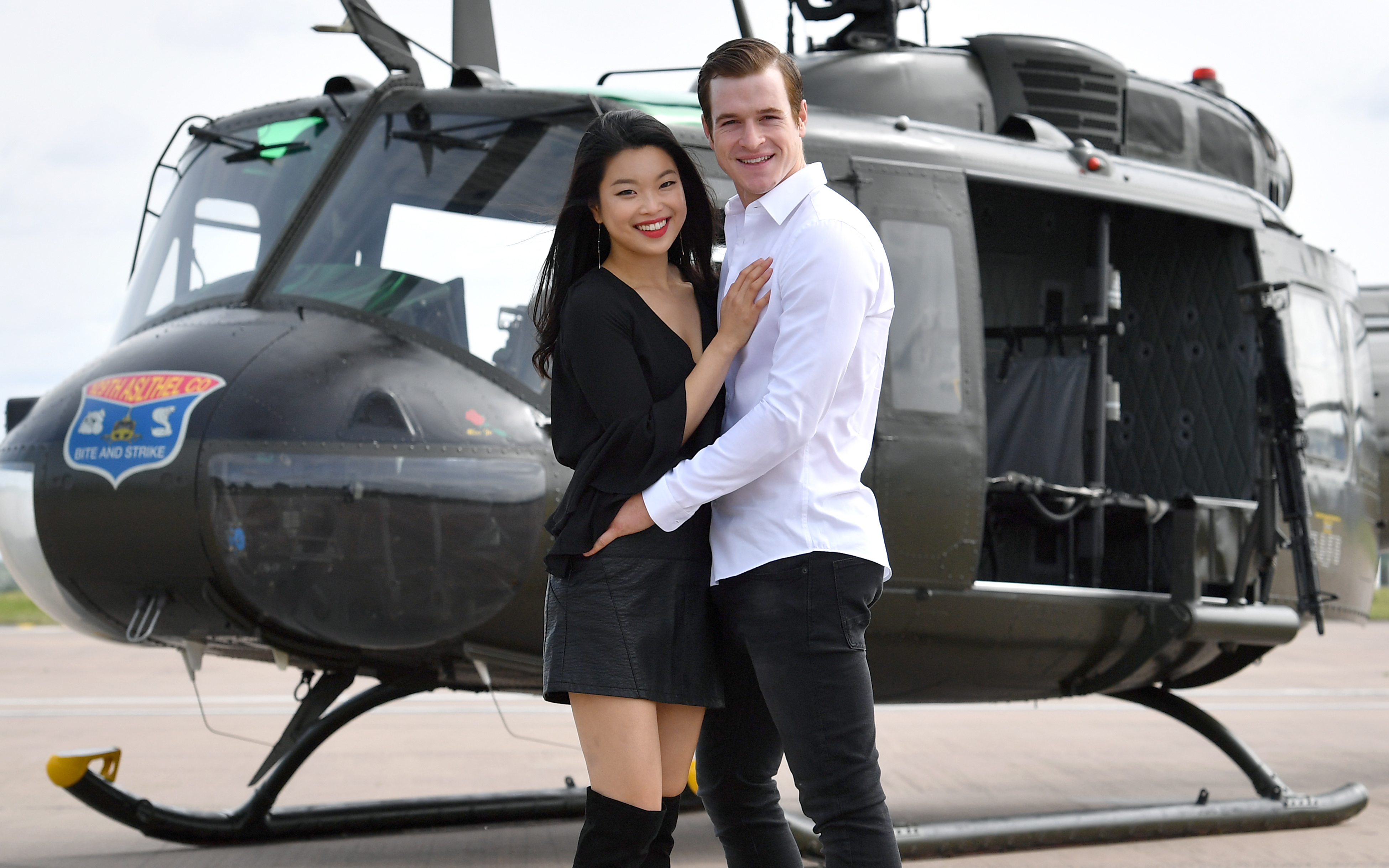 Stars of Miss Saigon enjoy up-close encounter with Vietnam veteran 'Huey' helicopter. - Birmingham Hippodrome